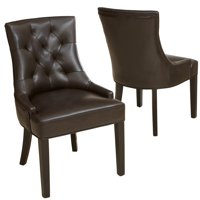 Erica Tufted Brown Bonded Leather Dining Chair (Set of 2)