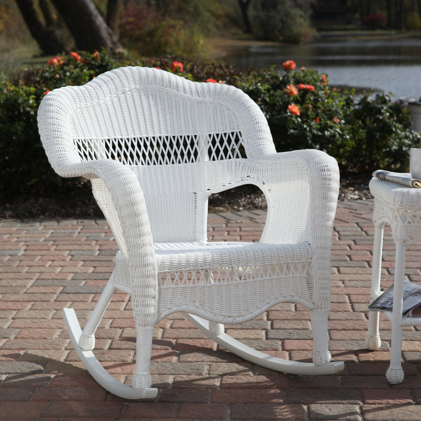 Awesome White Resin Wicker Rocking Chair Patio Furniture   Walmart.com