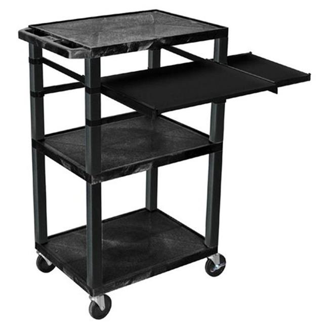 H Wilson WTPSLP42E-B 42 inch Presentation Cart with Keyboard Shelf and Side Pullout Shelf - Black