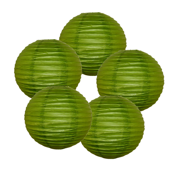 "Just Artifacts 6"" Grass Green Paper Lanterns (Set of 5) - Decorative Round Paper Lanterns for Birthday Parties, Weddings, Baby Showers, and Life Celebrations"