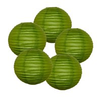 """Just Artifacts 6"""" Grass Green Paper Lanterns (Set of 5) - Decorative Round Paper Lanterns for Birthday Parties, Weddings, Baby Showers, and Life Celebrations"""