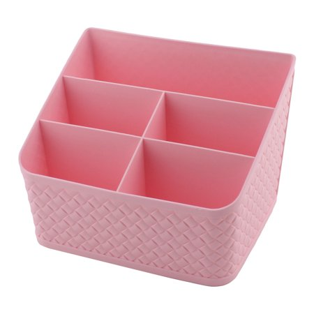 Plastic 5 Weave Pattern Compartments Sundries Storage Box Container Pink](Pink Storage Boxes)