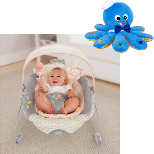 Ingenuity SmartBounce Automatic Bouncer, Piper with BONUS Octoplush Toy