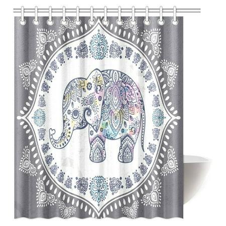 Cute Shower Curtain (MYPOP Bohemian Elephant Shower Curtain, Indian Lotus Cute Ethnic Elephant Polyester Fabric Bathroom Set with Hooks, 60 X 72)