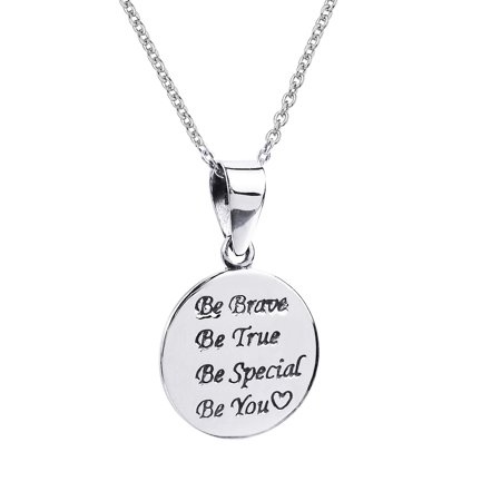 Be Brave Be True Be Special Be You Pendant  925 Sterling  Silver Necklace