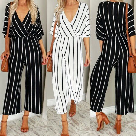 Women Short Sleeve Striped Loose Baggy Trousers Overalls Pants Romper Jumpsuit