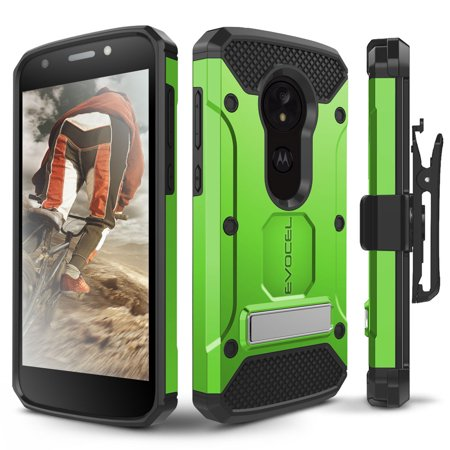 - Motorola Moto E5 Play Case, Evocel [Explorer Series Pro] with Glass Screen Protector & Metal Kickstand for Motorola Moto E5 Play, Green