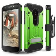 Motorola Moto E5 Play Case, Evocel [Explorer Series Pro] with Glass Screen Protector & Metal Kickstand for Motorola Moto E5 Play, Green