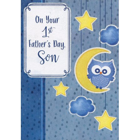 Designer Greetings Cute Blue Owl on Yellow Crescent Moon 1st Father