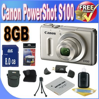 Digital Image Stabilized (Canon PowerShot S100 12.1 MP Digital Camera with 5x Wide Angle Optical Image Stabilized Zoom (Silver) + 8GB SDHC)