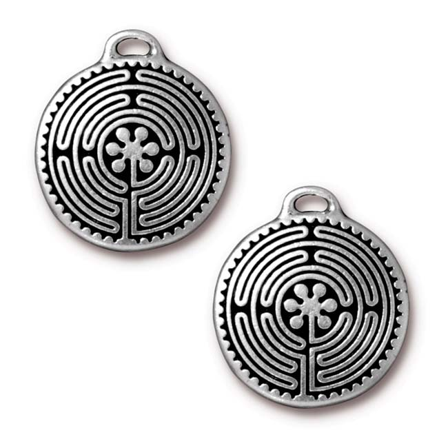 Antiqued Silver Plated Labyrinth Round Pendant 26.5mm (1)