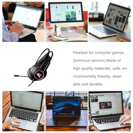 V9000 Computer Gaming Headphone With Microphone Internet Cafe Wired Headset - image 1 de 10