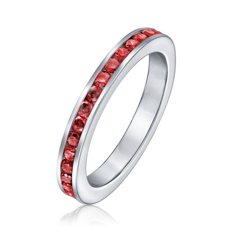 Red Cubic Zirconia Channel Set Eternity Band Ring Simulated Ruby CZ Stackable 925 Silver with Engraving ()