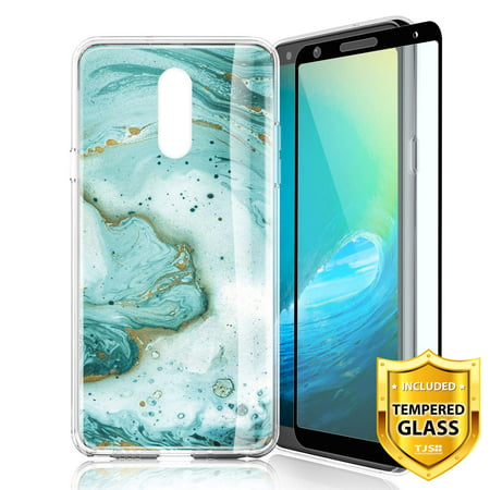 TJS Phone Case for LG Stylo 5/Stylo 5 Plus/Stylo 5V/Stylo 5X, with [Full Coverage Tempered Glass Screen Protector] Ultra Thin Slim TPU Matte Color Marble Transparent Clear Soft Skin Cover (Green) Green Soft Plastic Case