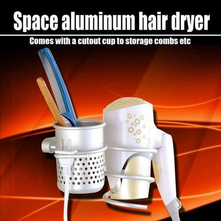 Bathroom Wall Mount Hair Dryer Holder Rack+Comb Storage Cutout Cup Organizer - image 1 de 8