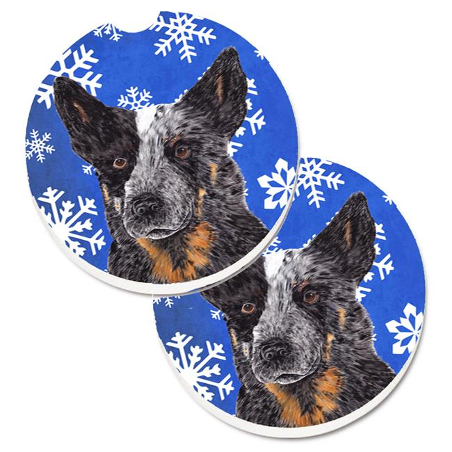 Carolines Treasures SC9396CARC Australian Cattle Dog Winter Snowflakes Holiday Set of 2 Cup Holder Car Coaster - image 1 of 1