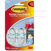 Command Clear Hooks and Strips, Plastic, Small, 2 Hooks with 4 Adhesive Strips per Pack