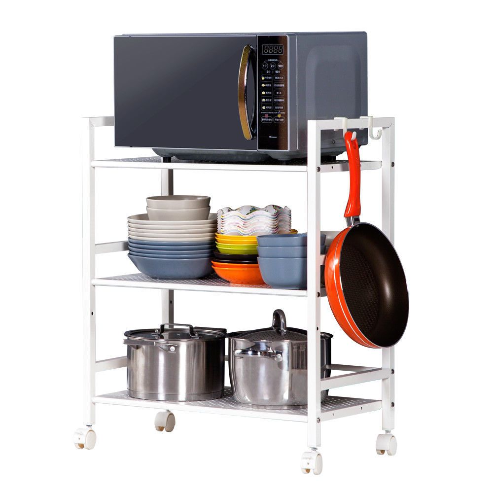 Zimtown 3-Tier Shelf Wire Mesh Rolling Cart Serving Utility Organization Kitchen Cart