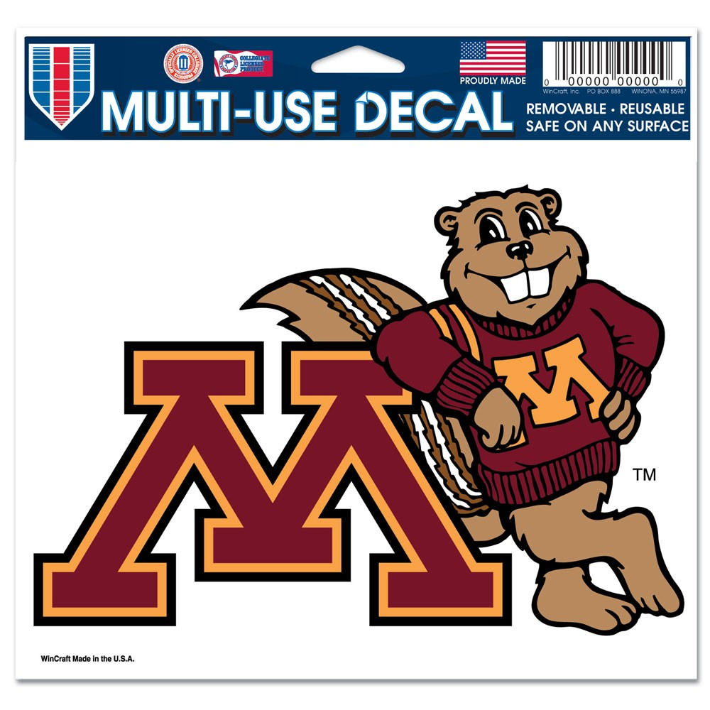 Minnesota Golden Gophers Official NCAA 4 inch x 6 inch Car Window Cling Decal by WinCraft