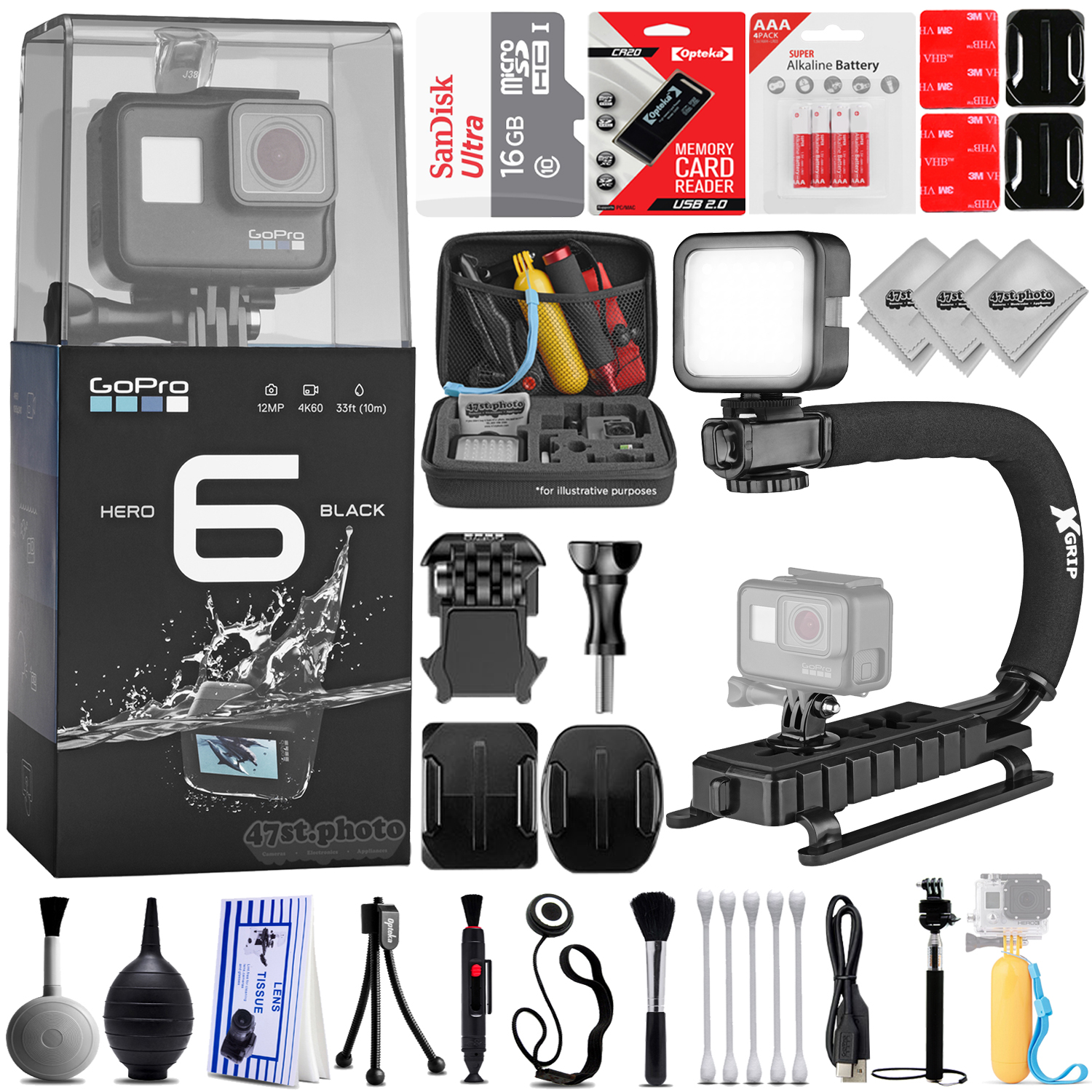 GoPro Hero 6 Black 12MP 4K Digital Camera w/ 30PC Sport Action Bundle / 4PC Curved Mount Kit - Rotating 360 Degree Mount - Tripod Mount Adapter - Handlebar Mount - Suction Cup Window Mount & MUCH MORE