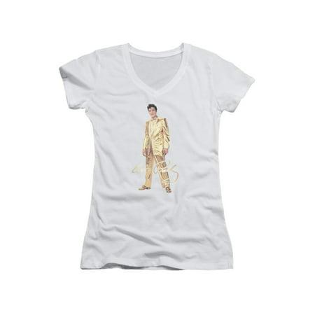 Gold Lame Elvis (Elvis Presley The King Rock Gold Lame Suit Junior V-Neck T-Shirt)