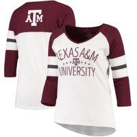 Texas A&M Aggies Pressbox Women's Plus Size Pomona 3/4 Sleeve V-Neck T-Shirt - Cream/Maroon