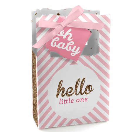Hello Little One - Pink and Gold - Girl Baby Shower Party Favor Boxes - Set o...