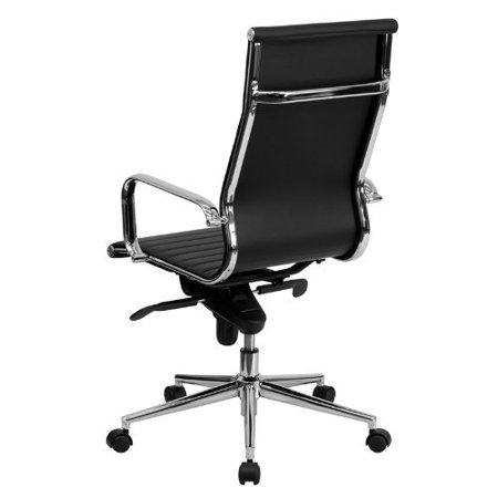 Modern Style Modern High back Chair Tall Ribbed PU leather with wheels arms Arm Rest w/Tilt Adjustable seat Designer Boss Executive Office Chair Work Task Computer Swivel Chair -Black