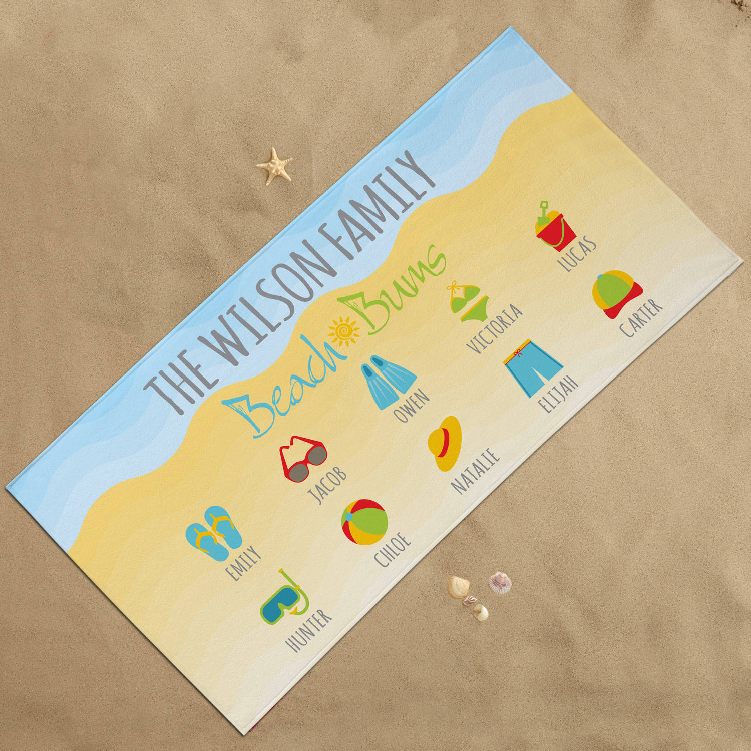 Personalized Beach Bums Beach Towel