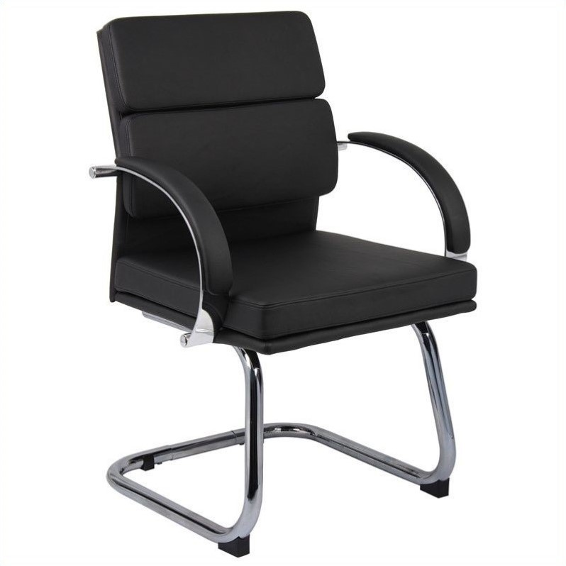 Guest Chair in Black with Chrome Metal Base