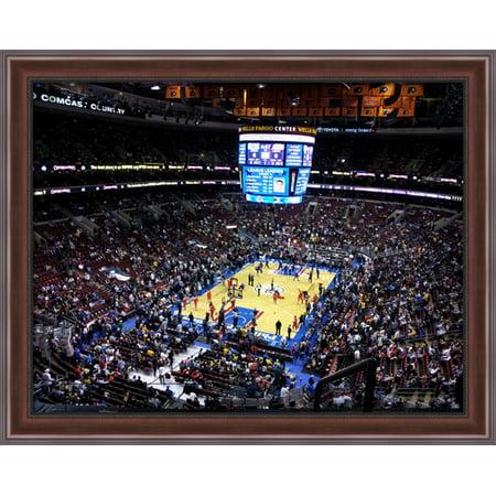 Wells Fargo Center 36X28 Large Walnut Ornate Wood Framed Canvas Art   Home Of The Philadelphia 76Ers