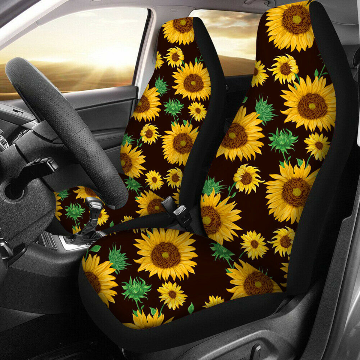 Kunming~ Sunflowers Wall Art Peace Sign Car Seat Covers for Front Vehicle Seat Protector Fit Most Car Truck SUV Van 1 PCS
