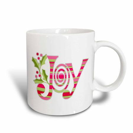 3dRose Pink and Green Christmas Joy, Ceramic Mug, 11-ounce