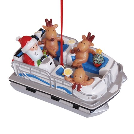 Santa and Reindeer in Pontoon Party Boat Christmas Holiday Ornament