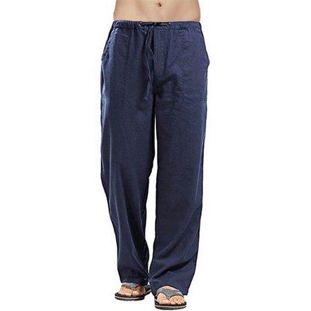 Men's Casual Cotton Linen Baggy Harem Beach Yoga Hippy Long Pants (Harem Pants For Men)
