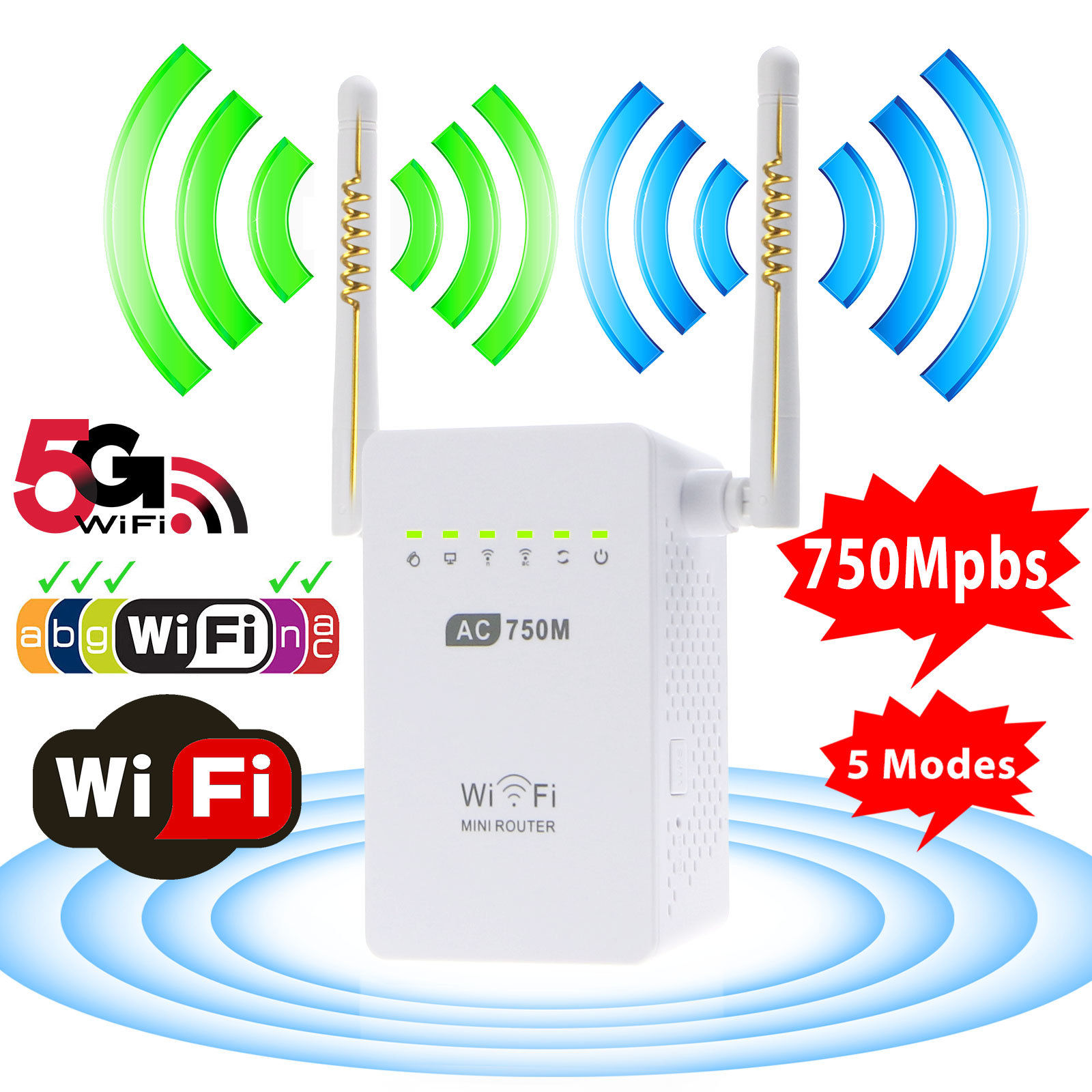 TSV 750Mbps Wireless Dual Band WiFi Extender with Dual 5dBi External Antennas Wi-Fi Signal Booster with 2.4GHz + 5GHz, Wall Plug, Ethernet Port, WiFi Repeater