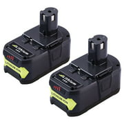 P108 4.0Ah Replacement for Ryobi 18V Lithium Battery Ryobi 18-Volt ONE+ P107 P104 P105 P102 P103 Cordless Power Tools - Pack of 2