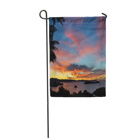 LADDKE Blue Australia Sunset in Hamilton Island Orange Sunrise Garden Flag Decorative Flag House Banner 12x18 -
