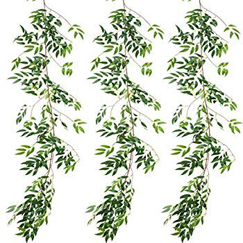 3 Pack (16.8ft) Artificial Willow Leaves Vines Twigs- Fake Silk Hanging Willow Plant Greenery Garland String for Indoor Wedding Party Crowns Wreath Decor, Outdoor Wall Garden Decoration Twigs Outdoor Wall