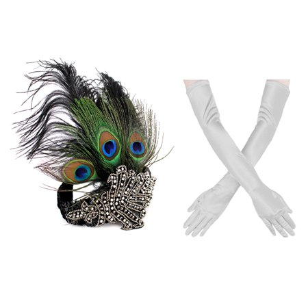 1920s' Vintage Flapper Accessories Costumes Set Peacock Rhinestone Headband, Sliver Gloves for Halloween Gatsby Theme Party New