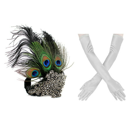 1920s' Vintage Flapper Accessories Costumes Set Peacock Rhinestone Headband, Sliver Gloves for Halloween Gatsby Theme Party New - Halloween Peacock