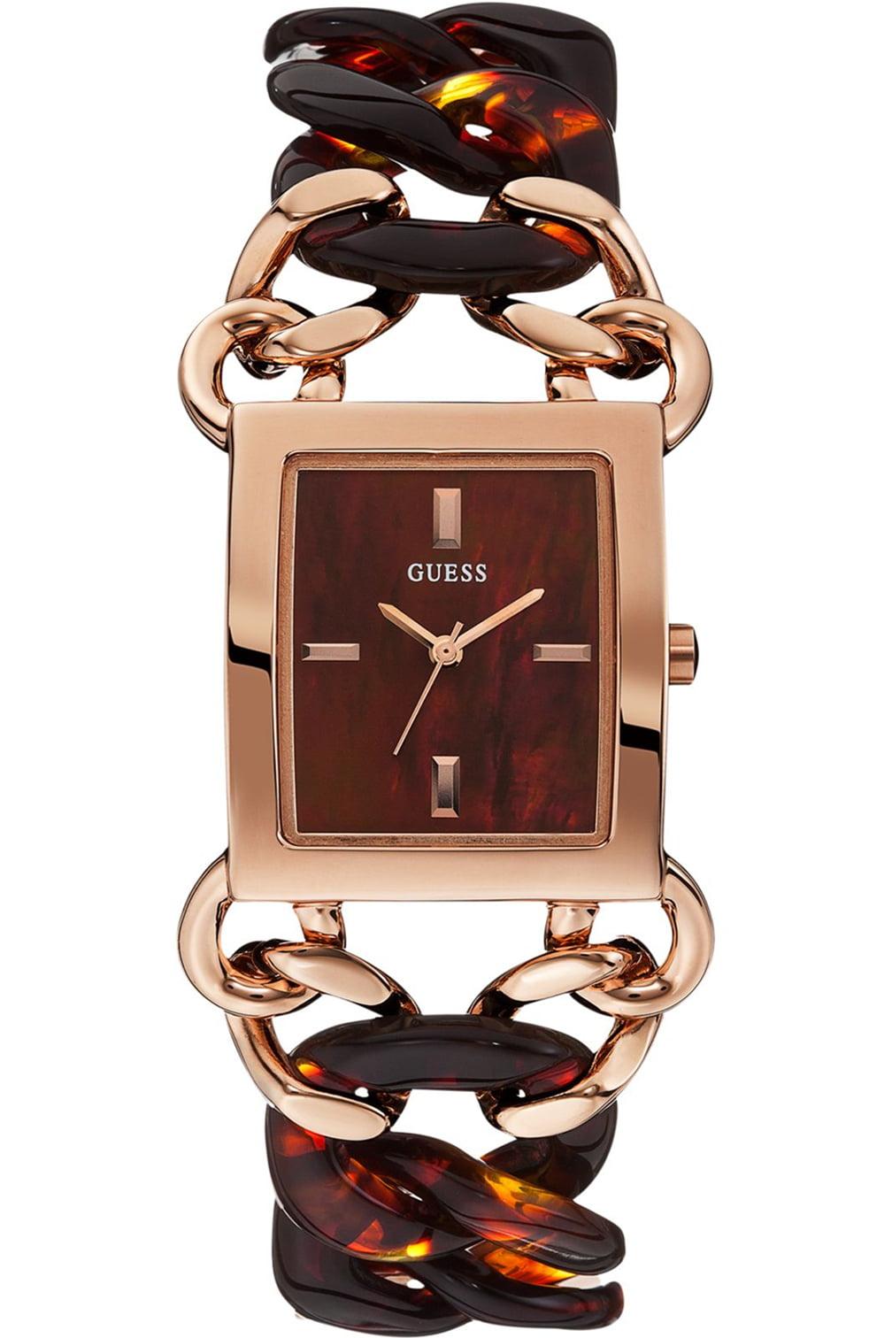 GUESS STEEL W0467L1,Women's Dress Elegant,Stainless Steel Case & Bracelet,Rose Gold Tone,Brown Dial,WR