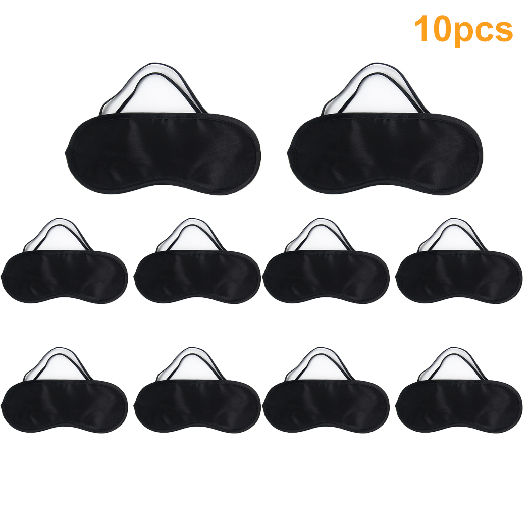 10Pcs Eye Masks set, Coxeer Elastic Eye Shade Cover Dacron Sleep Mask Eye Cover for Sleeping Traveling for Women Men Teen Boys Girls,Black
