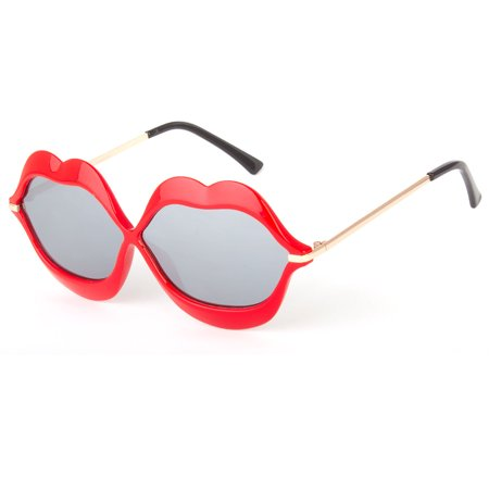 Retro Lip Shape Funky Hippie Unique Party Shade Women Vintage Sunglasses