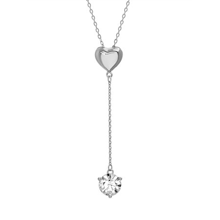 Faceted Crystal Heart Drop Necklace made with Swarovski Crystals ()
