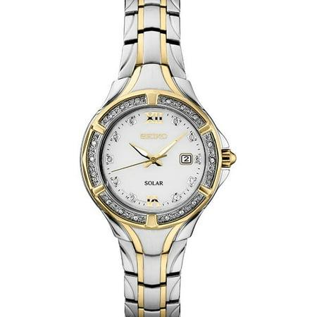 Seiko Women's Solar Diamond Accent Two Tone Watch SUT372