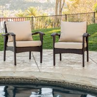 Kingsfield Outdoor Wicker Club Chairs with Tan Cushions, Set of 2, Brown
