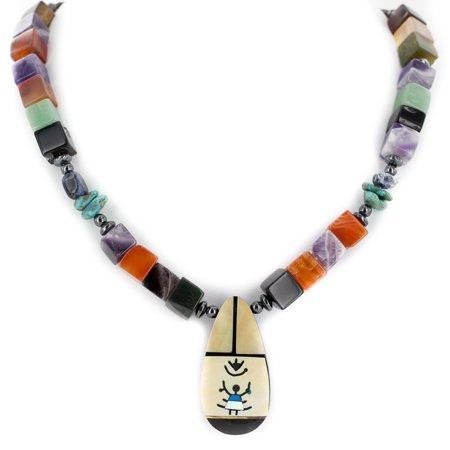 Certified Authentic Navajo .925 Sterling Silver Inlay Natural Turquoise Mother of Pearl Amethyst Black Onyx Charoite Tigers Eye Hematite Native American Necklace