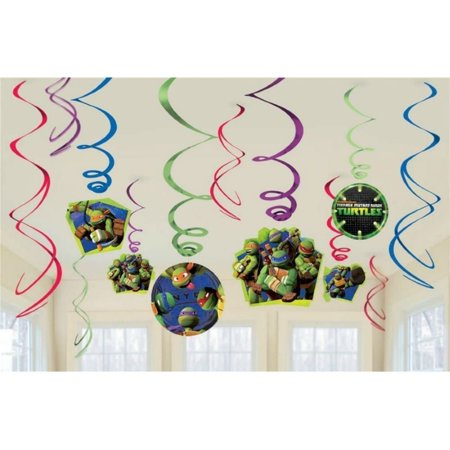 Teenage Mutant Ninja Turtles Hanging Party Decorations, Party Supplies, 12-piece swirl decorating value pack! By American Greetings - Ninja Turtles Party Decorations