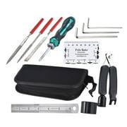 11Pcs Guitar Tool Kit Professional Repairing Maintenance Tools Guitar Files String Action Ruler 3 in 1 String Winder Cutter Pin Puller Hex Wrench Set